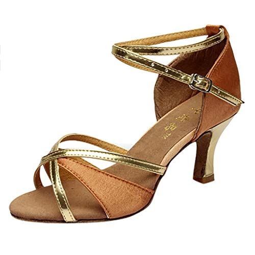 Meilleure Vente!LuckyGirls Chaussures de Danse Latine pour Fille Talons Hauts Chaussures de Satin Chaussures de Danse Salsa Tango(Brown,38)