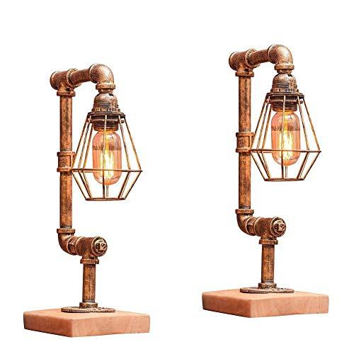 Industrie amerikanischen Stil Schreibtisch Lichter kreative Dekor Tischlampe dimmbare Lampe Plug-in Licht Retro Coffee Bar dekorative Beleuchtung Wasserleitungen Eisen (UnitCount : 2-set) (Industrie-stil Esszimmer-sets)