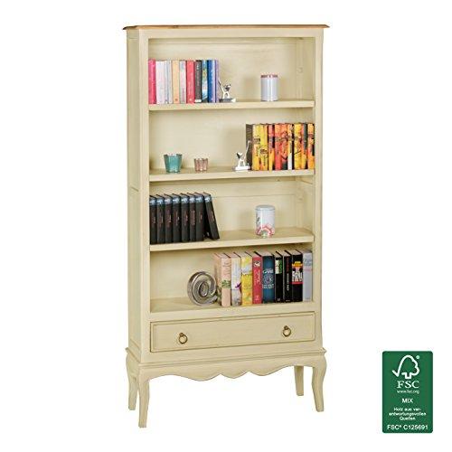 Wohnling Vintage Bücherregal Weiß Massiv 85 x 177 x 30 cm | Standregal aus Mango Massivholz |...