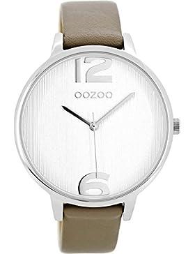 Oozoo Damenuhr mit Lederband 42 MM Silber/Taupe C8658