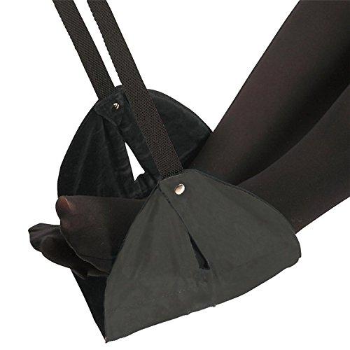 Yrlehoo Portable Oreillers de Pieds Repose-Pieds Hamac du Sang Confort Voyage en Avion Siège Sommeil Réglable Pieds Fixation, Noir (Taille: 43 * 22cm)