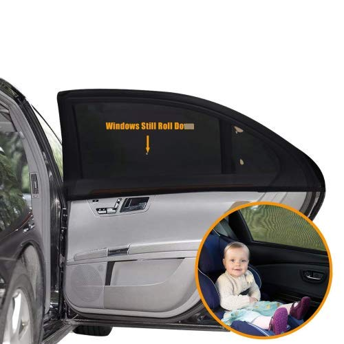 Sonnenschutz Auto Baby (2 Stück) - Sonnenblende Auto mit UV Schutz für Kinder, Hund im Rücksitz - Einfache und schnelle Anbringung an den ganzen Seitenfenster ohne Saugnapf (Schwarz , 54 cm x 92cm )