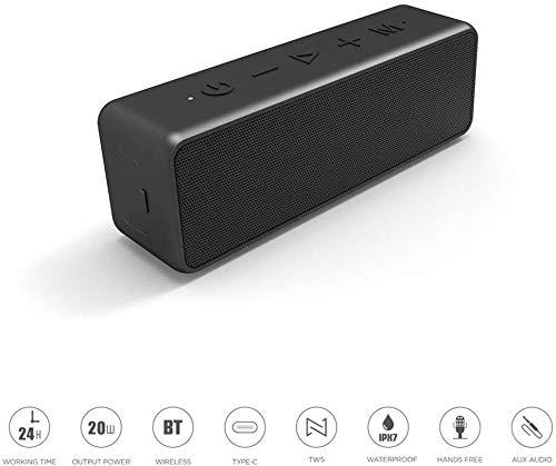 Tragbare IPX7 Bluetooth-Lautsprecher, 20 W HD-Stereo-Sound mit TWS Technologie, Typ-C-Methode Laden, gebaut Mic, 24H Wiedergabe, ideal für die Dusche Strand Badezimmer-Party (1pcs)