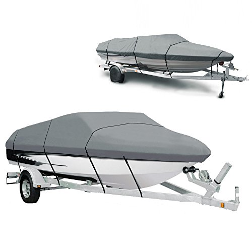Ancheer Boat Cover 210D Heavy Duty Polyester Canvas Waterproof Runabout Boat Cover, Fits for 14-16ft V-Hull, Tri-Hull, Fishing Ski, Speedboat - Full Size with Carrying Bag Test