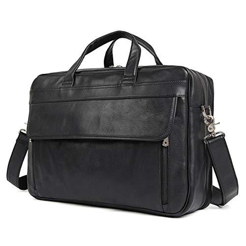 Herren Napa Leder (Herren Umhängetasche Leder Herren Tasche Business Tote Leder Napa Leder Aktentasche (Color : Black, Size : L))