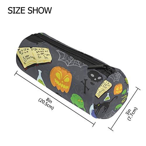 TIZORAX Federmäppchen für Halloween, schwarze Katze, mit Reißverschluss, Münzorganizer, Make-up, Kostüm-Tasche für Frauen, Mädchen, Jungen, Kinder