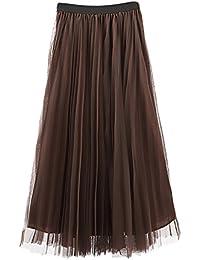 f8242aaeb255 Damen Faltenrock Tüllrock Elegant Vintage Elastisch High Waist A-Linie  Unikat Style Fashion Party Lang Rock…