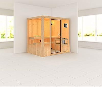 Fanja - Karibu Sauna Plug & Play inkl. 3,6 kW-Ofen - ohne Dachkranz - von Woodfeeling GmbH - Du und dein Garten