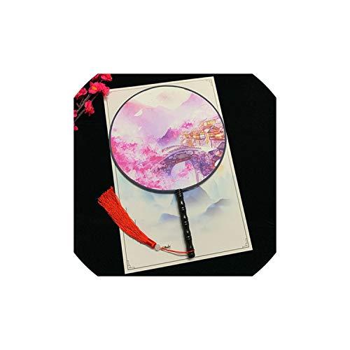 Archiba Decoration Fans Chinese Style Antike Doppel Druck Runde Fan Klassischer Tanz Handventilator Geeignet für alte Art Kostüm, - Moderne Kostüm Für Tanz