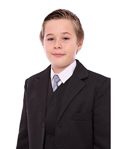 Jungen-Anzug, Schwarz, 5-teilig, 1-15Jahre Gr. 14 Jahre, schwarz (Nadelstreifen-jacke Schwarze Hose)