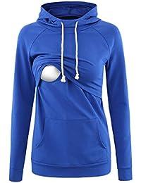 Love2Mi Umstandsmode Damen Kapuzenpullover Pflege Hoodie Long Sleeves Sweatshirt Stillen Geschichteten Top Pocket Casual Kleidung