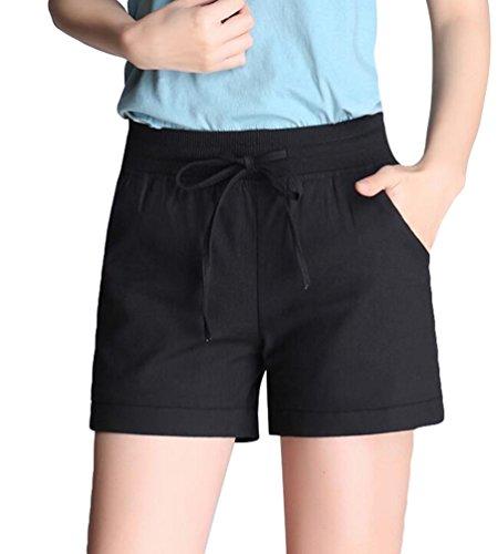 YiLianDa Hotpants Sommer kurze Hose Shorts Stoffhose Bermuda Panty Schwarz L