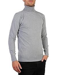 Hommes Pull Col Roulé Top Uni en Coton Classique Manches Longues