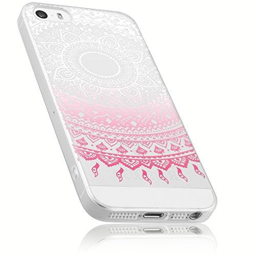 mumbi Schutzhülle iPhone SE 5 5s Hülle im Mandala Design transparent rosa - Rosa Iphone Cover 5