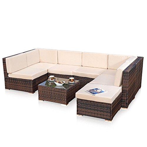 Melko XXL Gartenset, Poly Rattan, Lounge Sofa-Garnitur mit Glastisch, inklusive Kissen, mehrteilig, Braun