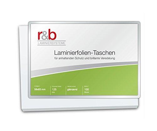 r&b FT-IC-125 Laminierfolien IBM Card, 59 x 83 mm, 2 x 125 mic, 100 Stück