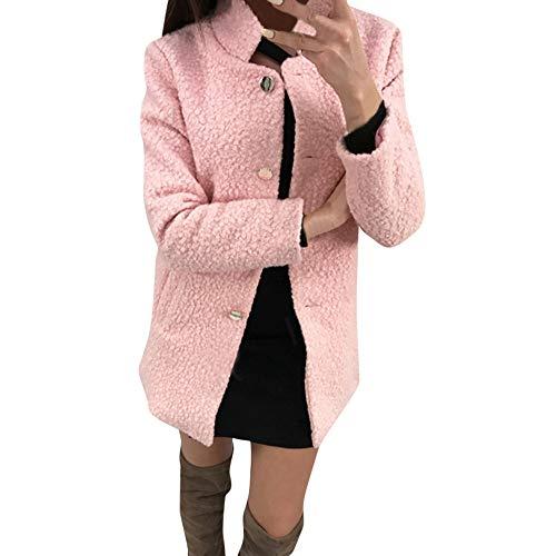 wintermantel Damen flauschig Solid Single Breasted Notched Fluffy Pocket Jacket Outwear Coat Damenjacke Einreiher Anzugkragenjacke Model warme Casual Coat