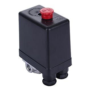 4 Port Luftkompressor Pumpe Druck Ein/Aus-Knopf-Schalter Steuerventil Vertikal Typ Ersatzteil Druckregler Druckschalter Druckwächter Kompressorschalter Schalter für Luft Kompressor AC220V 10A
