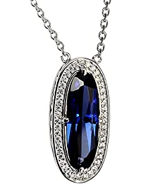 Ornate Jewels Hues Simulated Royal Blue Sapphire Pendant In 925 Sterling Silver With Pendant Chain For Women SN2470TZ