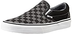 Vans Unisex Classic Slip-On (Checkerboard) Black and Grey Canvas Loafers and Moccasins - 7 UK