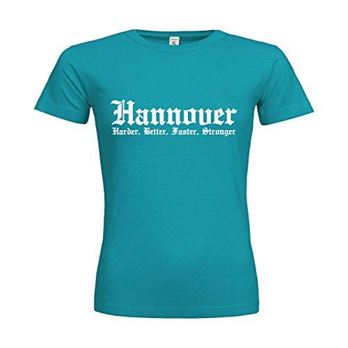 MDMA Frauen T-Shirt Classic Hannover Harder, Better, Faster, Stronger N14-mdma-ftc00283-96 Textil swimmingpool / Motiv glitterweiss / Gr. XXL