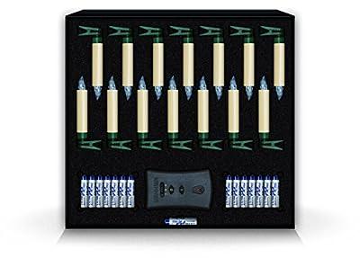 KRINNER Lumix Classic Mini Basis-Set elfenbein IR, 14 elfenbeinfarbene, kabellose LED-Christbaumkerzen mit Infrarot-Fernbedienung, Batterien in warm / weißen Licht 75322