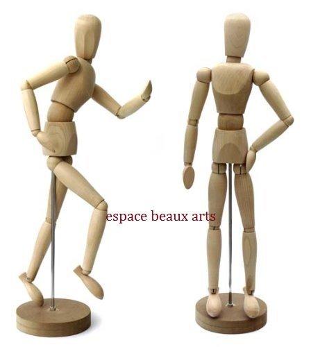 Männliche Modellpuppe / Gliederpuppe / Mannequin ca. 30 cm hoch aus Buchenholz ideal als Modell