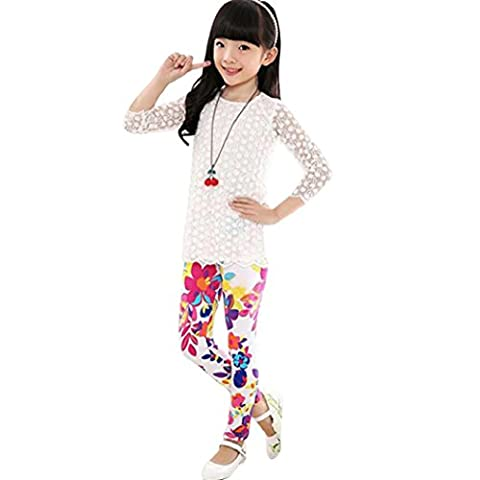A07161 Anglewolf New Flower Printing Leggings ,Young Girls Classic Pencil