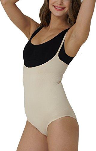 UnsichtBra Damen Figurformender Body, ohne Bein, ausgespartes Dekolleté (sw_0900) (L (44-50), Beige)