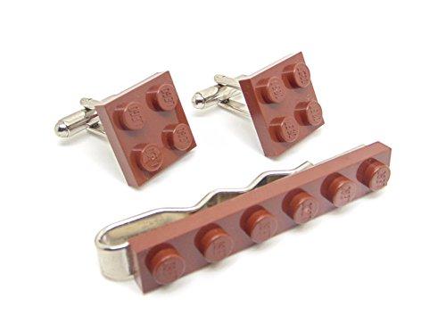 Marron véritable plaque de Lego Pince à cravate et boutons de manchette - Funky rétro Cool Boutons de manchette fabriqué par Jeff Jeffers