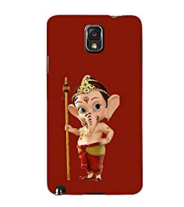 Print Masti Designer Back Case Cover for Samsung Galaxy Note 3 :: Samsung Galaxy Note Iii :: Samsung Galaxy Note 3 N9002 :: Samsung Galaxy Note 3 N9000 N9005 (Red Crown Animated Ganpati )