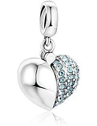 Globalwin I Love You de charms Beads–Plata 925Corazón Cristal Charm- para adaptarse a Pandora, Biagi, Chamilia y similares 3mm pulseras