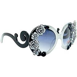 AiSi Damen Mädchen Retro rund Sonnenbrille Anti-UV Brille Gr. One Size Schwarz Blumen Design