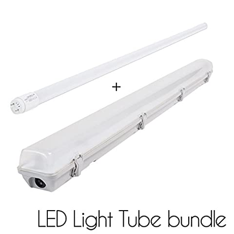 T8 4FT/5FT LED Light Tube BUNDLE pack of 1 or 2 18W/24W (150W HALOGEN EQUIVALENT) and single/double tube Housing case with 3 YEARS WARRANTY PERFECT for HOME and COMMERCIAL lighting fitting IP65