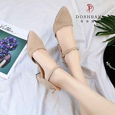 LvYuan Da donna Sandali PU (Poliuretano) Primavera Estate Fibbia Quadrato Nero Tessuto almond 7,5 - 9,5 cm Black