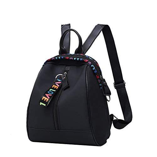 YUnnuopromi Damen Mädchen Rucksack mit Buchstaben-Stickerei, wasserdicht, große Kapazität schwarz Schwarz