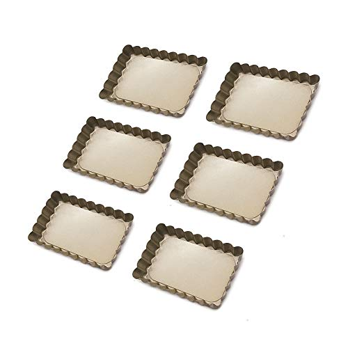 HOMOW NS4-001-2 Mini-Quiche-Pfannen mit abnehmbarem Boden, Antihaftbeschichtung, 12,7 cm, 6 Stück Mini-quiche Pan