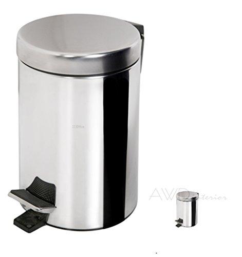 Schöner Treteimer-Kücheneimer-Badeimer-Inhalt :3 Liter -Edelstahloptik-mit Kunststoffeinsatz-AWD DESIGN- AWD02030010