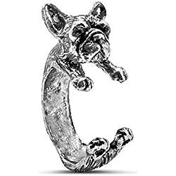 Serebra Jewelry anillo bulldog francés con tinte plateado ajustable