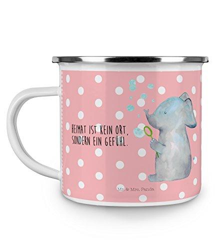 Mr. & Mrs. Panda Emaille Tasse Elefant Seifenblasen - 100% handmade in Norddeutschland - Rüsseltier,Seifenblasen, Elefant, Tasse, Camping, Emaille Tasse, Becher, Campingbecher, Liebesspruch, Liebe, Elefanten, Liebesbeweis, Heimat