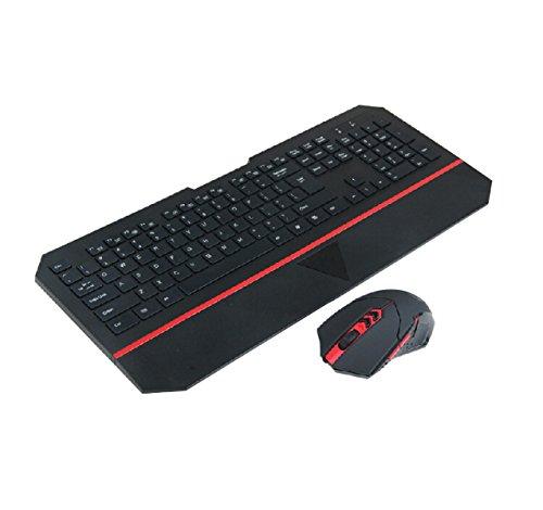 OGEOU Computerspiele Internet-Spiele Drahtlose Tastatur Und Maus-Set {weiß Schwarz} Von Hinten Beleuchtet,Black (Drahtlose Von Hinten Beleuchtete Tastatur Maus)