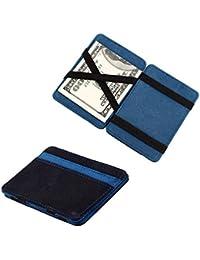 Sannysis® Mini monedero Grind neutral; Magia monedero Bifold; Billetera de cuero; Purse Card (Azul)