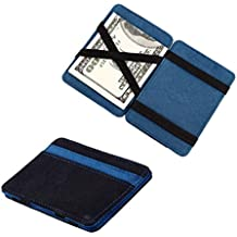 Sannysis® Mini monedero Grind neutral; Magia monedero Bifold; Billetera de cuero; Purse Card (Azul)