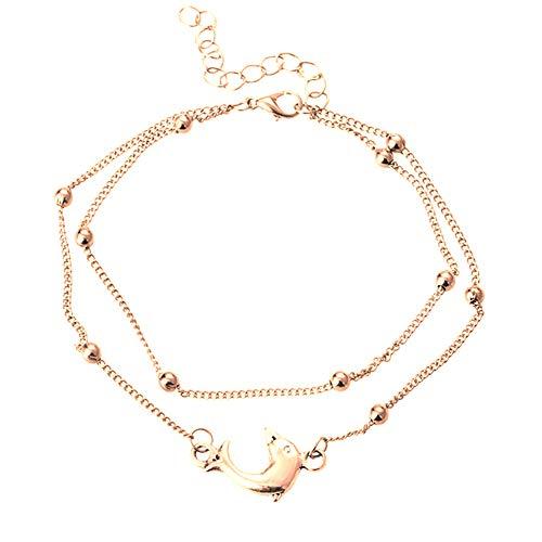 yer Fußkettchen Perlen Fußkettchen für Frauen Boho Bein Schmuck Silber Gold Farbe handgemachte Sandalen Geschenk,2 ()