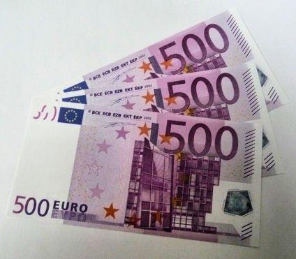 Geschenkartikel 1 Stück \'500er Euro-Ersatz-Schein\' 125{152505d3c7f1b05a93f0e2af1c4d12760f15975dcbd058153b9a0fb2b6a71149}, einseitig, Spielgeld (lila) - andere Mengen im Amazon-Shop