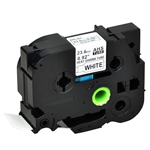 Nineleaf kompatibel Schrumpfschlauch Band für Brother P-Touch HSe-251 HSe251 HS251 HS-251 PT-E500 PT-E500VP PT-E550W PT-E550WVP PT-P750WVP 23.6mm x 1.5m schwarz auf weiß 1 Packung - Schrumpfschlauch Bands