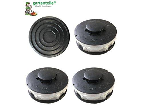 Set 3+1 passend für EINHELL CG-ET 4530 : 3 StückRasentrimmer Ersatzspule/Doppel - Fadenspule plus eine Haube/Spulenabdeckung passend für EINHELL CG-ET 4530 Elektro Rasentrimmer 450 Watt