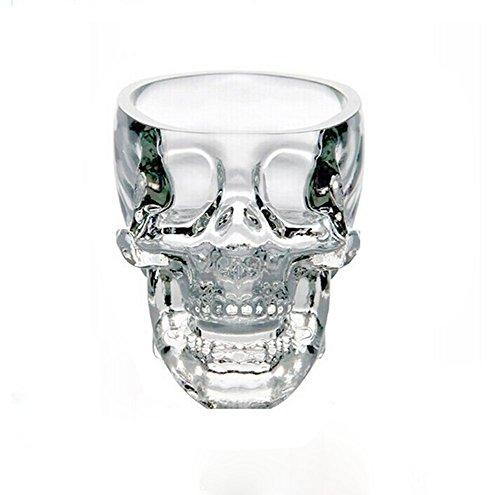Vi.yo Mini Creative Skull Cup Hitzebeständiges Getränk Glas Kristall 3D Schädel Pirat Schnapsglas Getränk Cocktail Bier Cup, 1 Stück