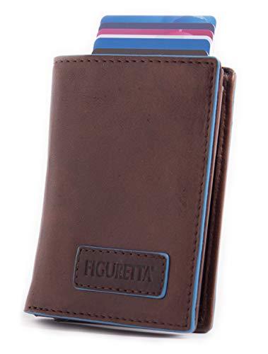Figuretta Leder Kreditkartenetui mit Banknoten- und Münzfach - Geldbörse Slim Wallet Portmonee - RFID Schutz - Blueline Braun