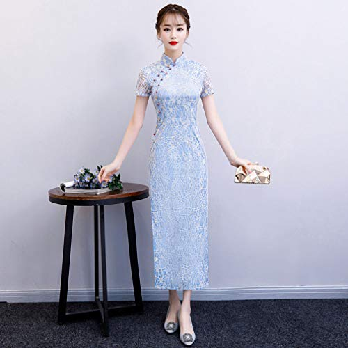 YAN Women es Chinese Dress Silk Vintage Fashion Gown Stand Collar High Slits Short Sleeve 3D Cheongsam Qipao Wedding Party Evening,3,L (Blossom Mini-kleid)